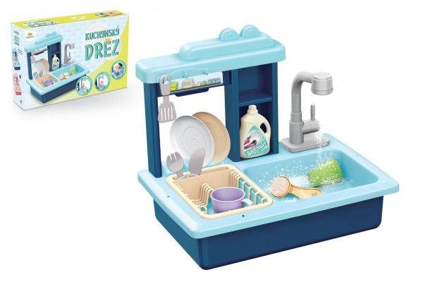 Dřez na mytí nádobí modrý + kohoutek na vodu na baterie plast s doplňky v krabici 46x28x12