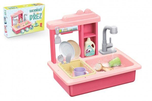 Dřez na mytí nádobí růžový + kohoutek na vodu na baterie plast s doplňky v krabici 46x28x1