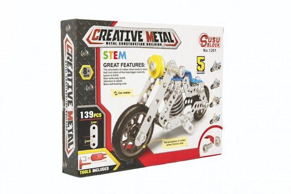 Stavebnice kovová motorka 139 dílků v krabici 26x20x4cm