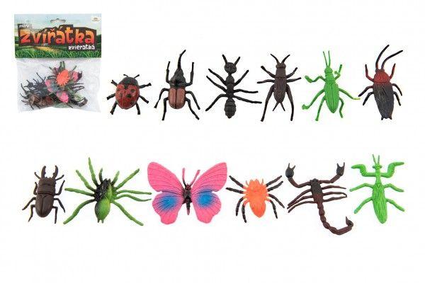 Hmyz/zvířátko mini plast 4 až 8 cm 12 ks v sáčku