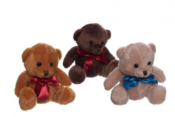 Medvěd/Medvídek sedící se mašlí plyš 15cm