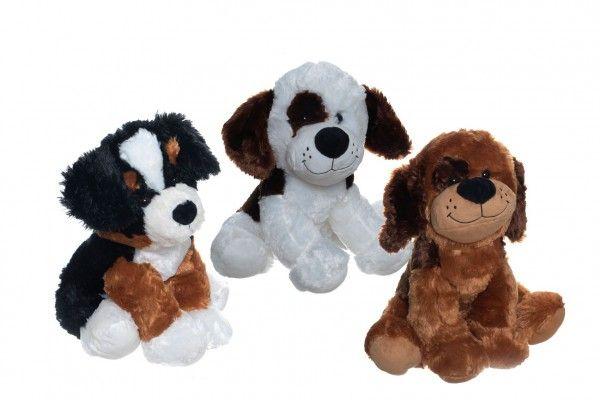 Pes/Pejsek sedící 40cm plyš 3 druhy v sáčku 0+