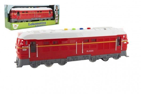 Lokomotiva/Vlak červená na baterie se zvukem se světlem