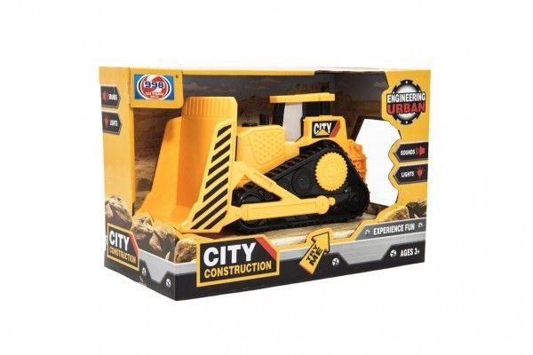 Stavební stroj buldozer plast 20cm na setrvačník na bat. se světlem se zvukem v krabičce 2