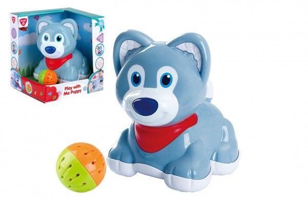 Pes/pejsek s míčkem plast na baterie se zvukem