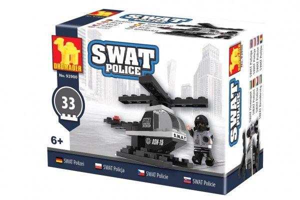 Kostky stavebnice Dromader Swat policie vrtulník 32 dílků