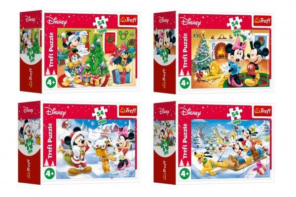 Minipuzzle Vánoce s Mickeym 54 dílků v krabičce