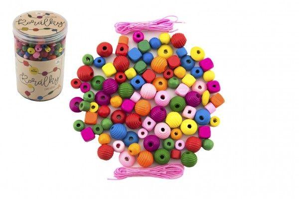 Korálky dřevěné barevné s gumičkami cca 800 ks v dóze