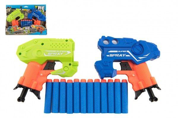 Pistole na pěnové náboje 2 ks 13cm plast + 12ks nábojů v krabičce 28x20x5,5cm