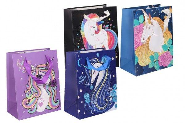 Dárková taška dětská s jednorožcem mix barev 18 x 23 x 10 cm