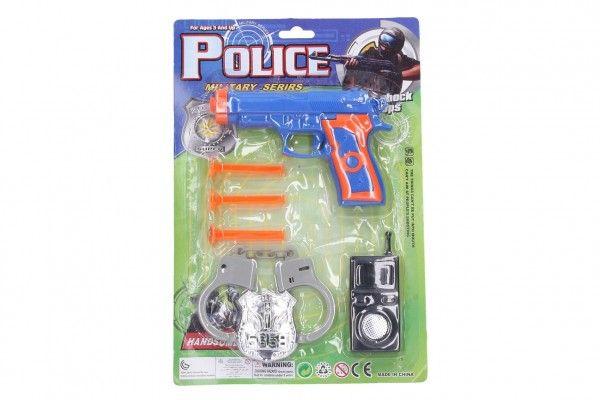 Policejní sada plast pistole na přísavky 15cm náboje 3ks s doplňky na kartě