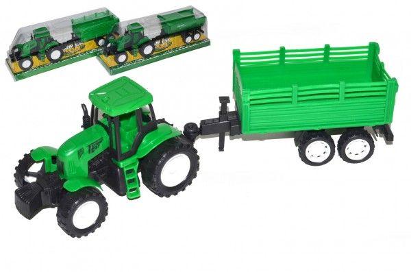 Traktor s vlekem na setrvačník - 30 x 10 x 8 cm