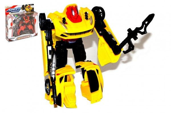 Transformer auto/robot plast 15cm s doplňky 4 druhy v krabici 23x25x5cm