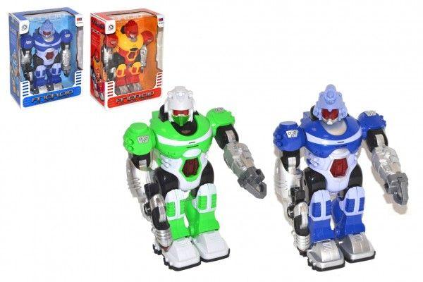 Robot chodící plast 25cm na baterie se světlem se zvukem 2 barvy v krabici 20x28x11cm