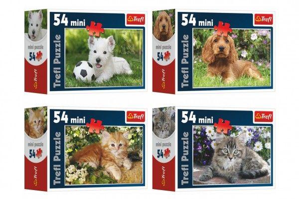 Minipuzzle Zvířátka 54 dílků  v krabičce 9x6,5x3,5cm