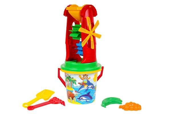 Sada na písek plast kbelík, mlýnek s doplňky