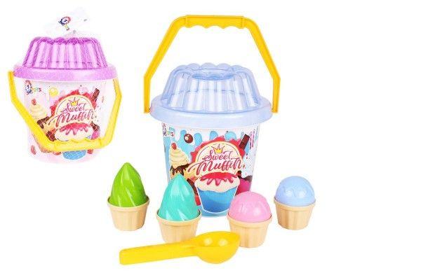 Sada na písek plast kbelík, lopatka, bábovky