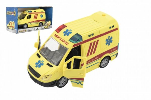 Teddies Auto ambulance plast 20cm na setrvačník na baterie se zvukem se světlem