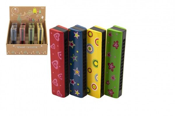 Harmonika dřevěná 13 cm 4 barvy