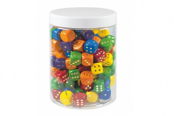 Hrací kostky barevné dřevo 150 ks v plastové dóze 14 x 10 cm