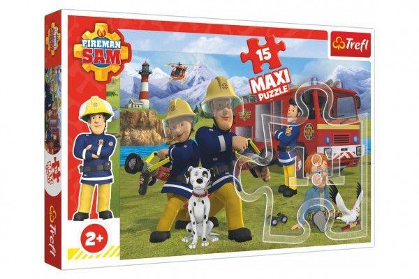 Puzzle maxi 15 dílků Požárník Sam, Tým v akci 60 x 40 cm