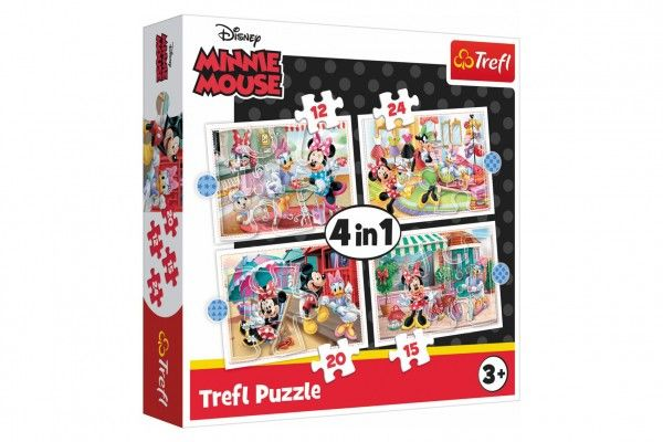 Puzzle 4v1 Minnie s přáteli Disney v krabici 28 x 28 x 6 cm