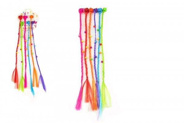 Sponky/Skřipce do vlasů 6 ks plast s barevnými copánky 30 cm
