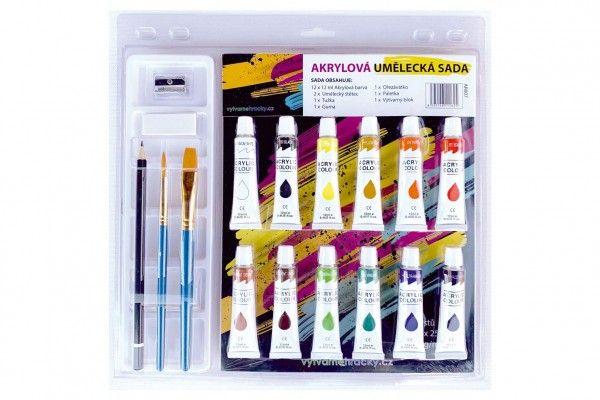 Akrylová umělecká sada, 12 ks barev + doplňky