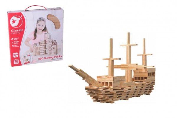 Teddies Dřevěná stavebnice - prkýnka, 250ks