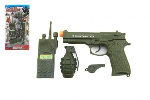 Vojenská/policejní sada plast pistole klapací 18cm vysílačka, píšťalka, granát na kartě 15