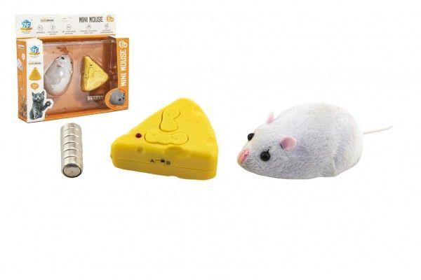 Myš na ovládání IC plast 7cm na baterie v krabičce 18x16x4cm