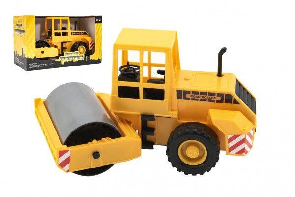 Stavební stroj válec plast 33cm na setrvačník v krabici 35x21x19cm