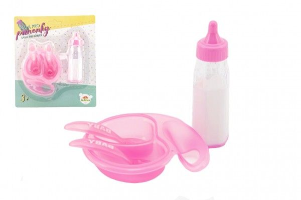 Sada pro panenky plast lahvička, miska s příborem na kartě 19x22x4cm