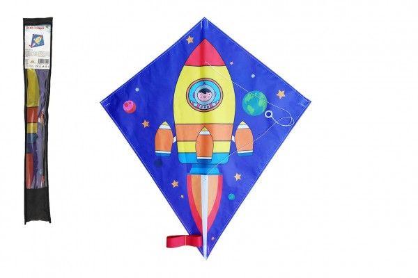 Drak létající nylon 70x60cm kosmická raketa v sáčku 10x72cm