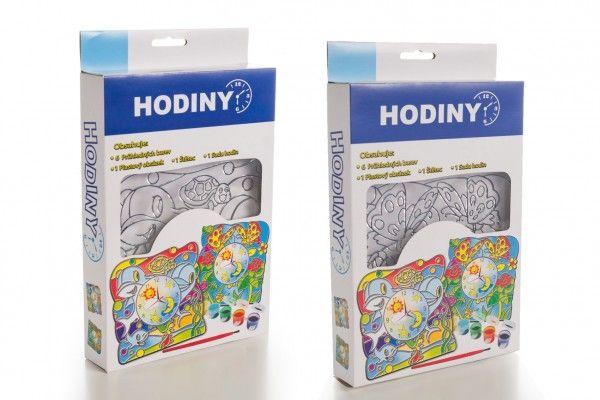 Hodiny kreativní sada s akrylovými barvami 2 druhy v krabičce 16x26x4cm