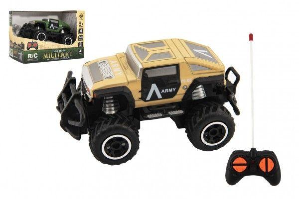 Auto RC mini vojenské SUV plast 14cm 27MHz na dálk. ovl. na bat. se světl. 2 barvy v krab. 16x12x10
