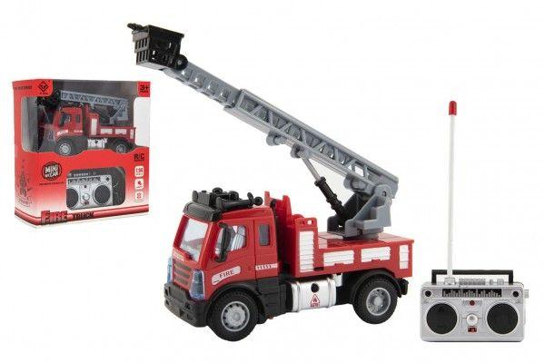 Auto RC nákladní hasiči plast 12cm 27MHz na dálk.ovl. na baterie se světlem v krab. 16x18x8cm