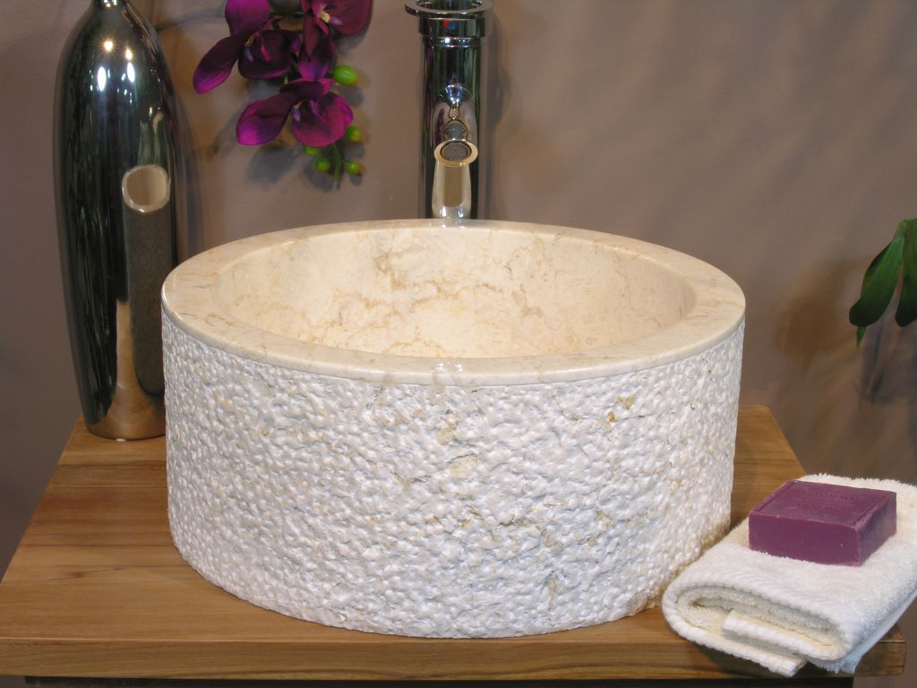 Umyvadlo z přírodního kamene MIRUM 509 Ø40 cm Cream