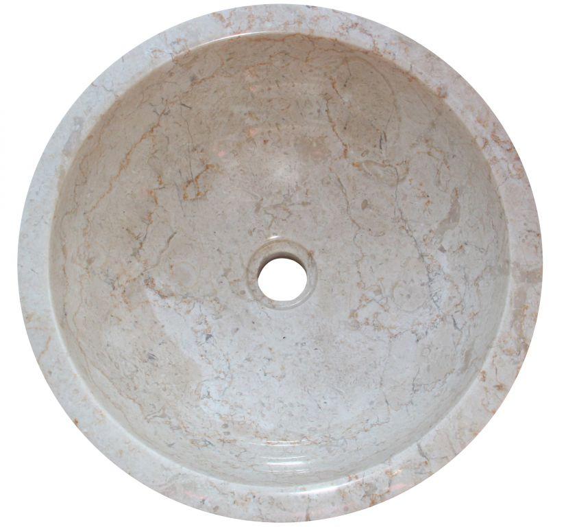 Kamenné umyvadlo Gemma 501 leštěný mramor Ø40 cm Cream