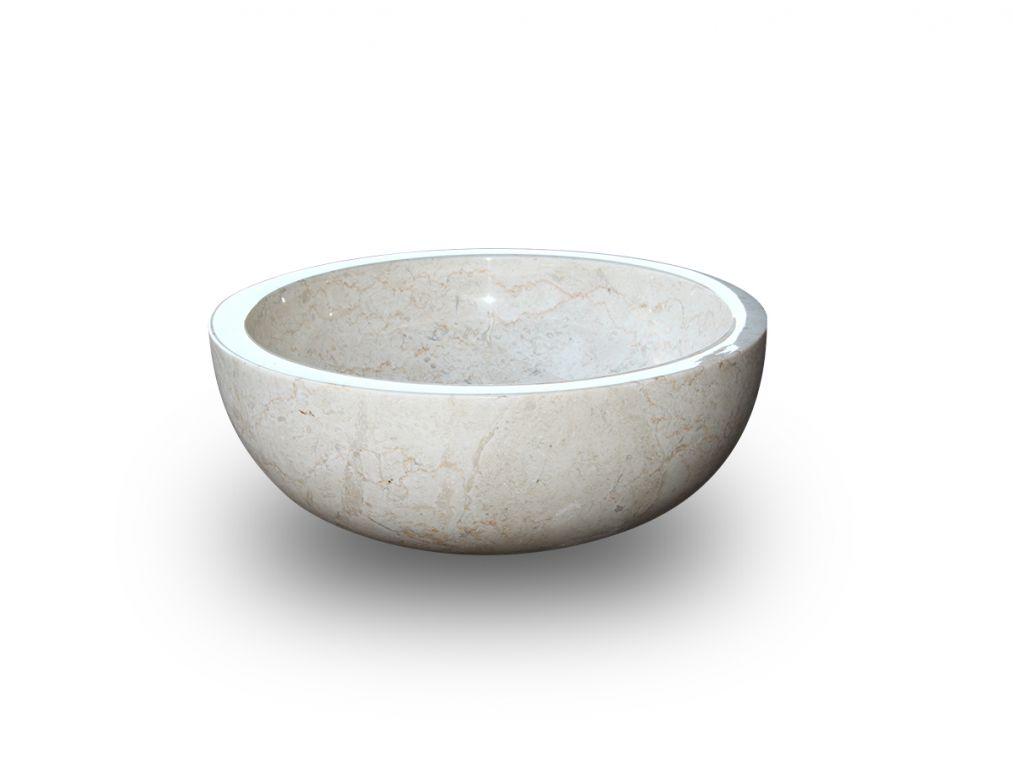 Kamenné umyvadlo Gemma 501 leštěný mramor Ø50 cm Cream