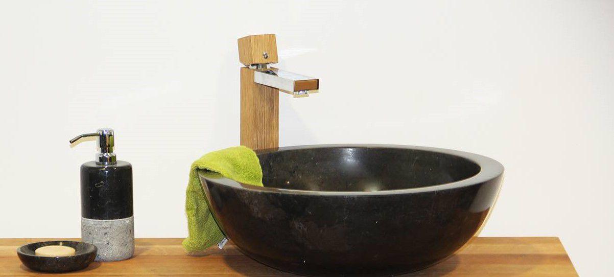 Kamenné umyvadlo Gemma 501 leštěný mramor Ø 50 cm Black