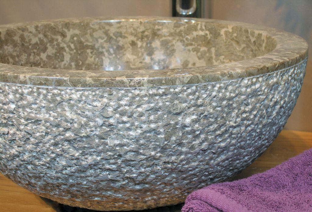 Umyvadlo z přírodního kamene Gemma 516 Ø45 cm Grey