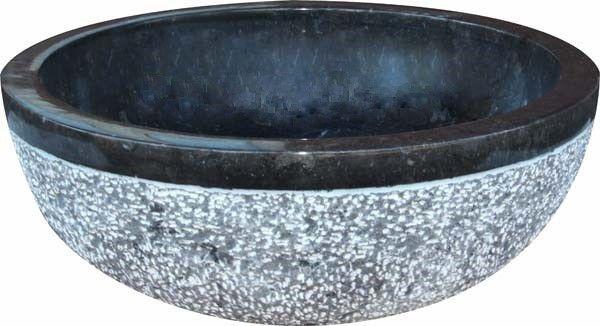 Umyvadlo z přírodního kamene Gemma 516 Ø45 cm Black