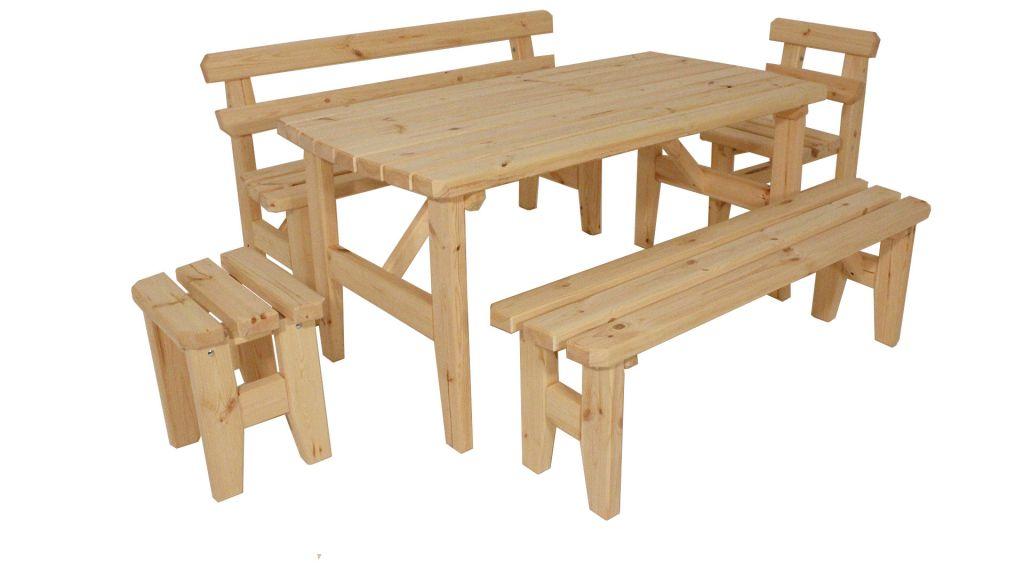 Zahradní dřevěný set z masivu I. - bez povrchové úpravy Gaboni TP55243
