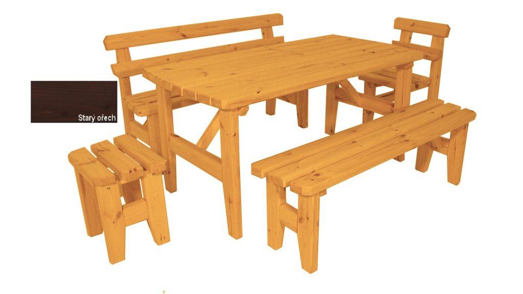 Zahradní dřevěný set z masivu Eduard – s povrchovou úpravou – 160 cm – STARÝ OŘECH