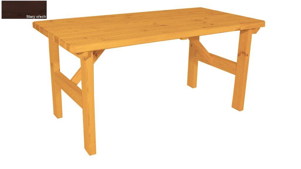 Zahradní dřevěný stůl Darina - s povrchovou úpravou - 160 cm - STARÝ OŘECH