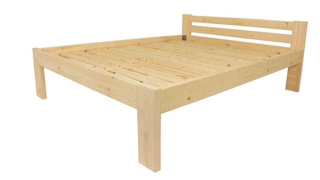 Dřevěná postel 180 x 200 cm - přírodní lak - včetně roštů