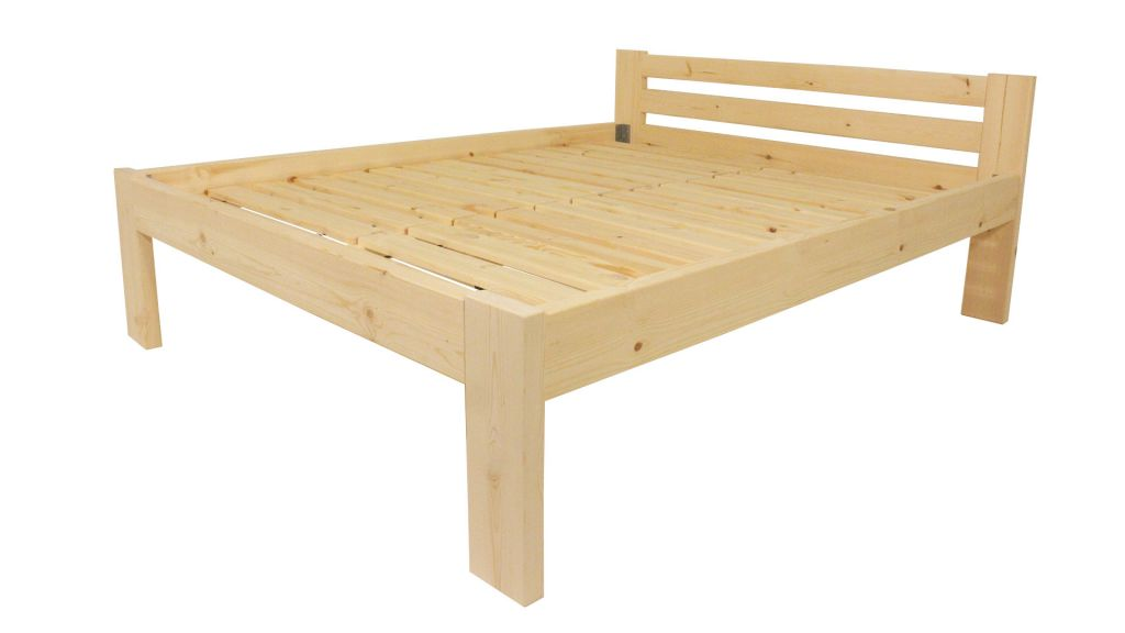 Dřevěná postel 160 x 200 cm – přírodní lak – včetně roštů