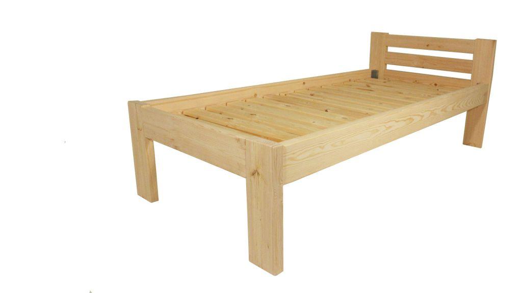 Dřevěná postel 80 x 200 cm – přírodní lak  – včetně roštů