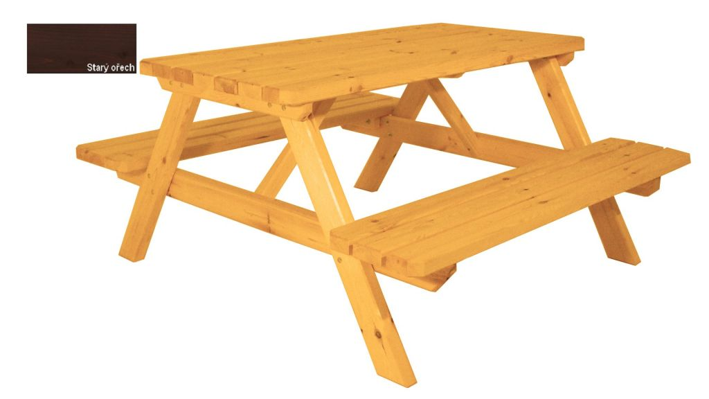 Zahradní set piknik - s povrchovou úpravou - 150 cm - STARÝ OŘECH